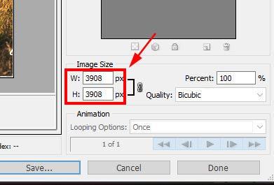 image size in photohsop
