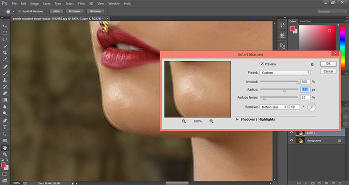 How to remove blur in Photoshop 11