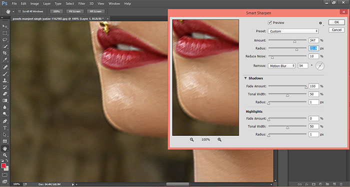 How to remove blur in Photoshop 14