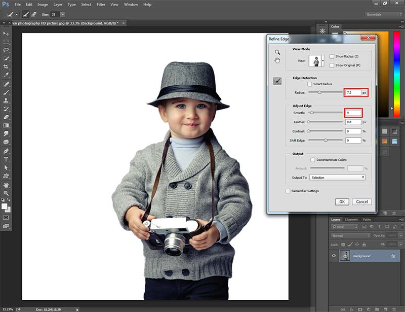 Outline an image in Photoshop