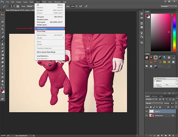 Make Selection via Color Range