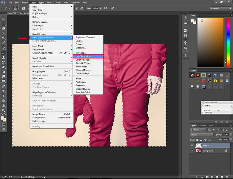 Choose Hue & Saturation from New Adjustment layer