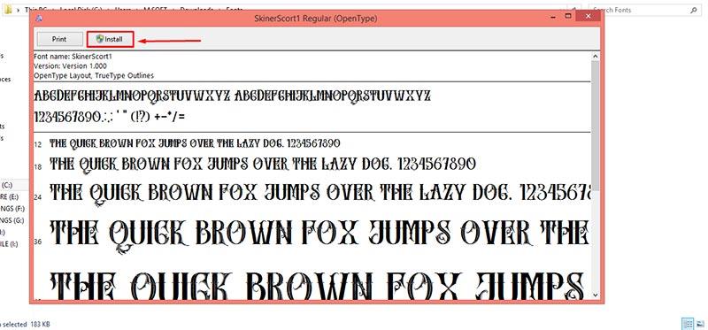 Installation fonts