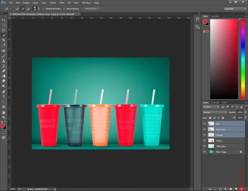 Delete selected layers in Photoshop