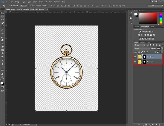 copy a mask into another layer in Photoshop