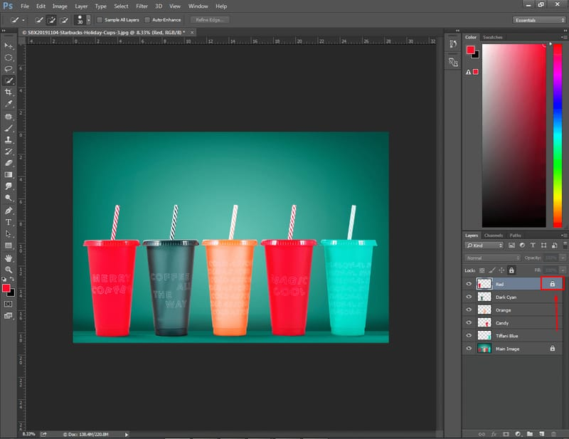 how to unlock layers in Photoshop