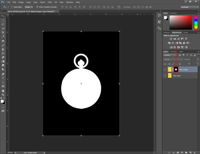 make a mask visible in Photoshop