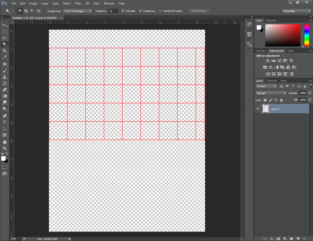 Delete Cells of a Table in Photoshop