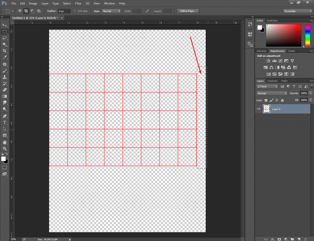 how to make a table in Photoshop