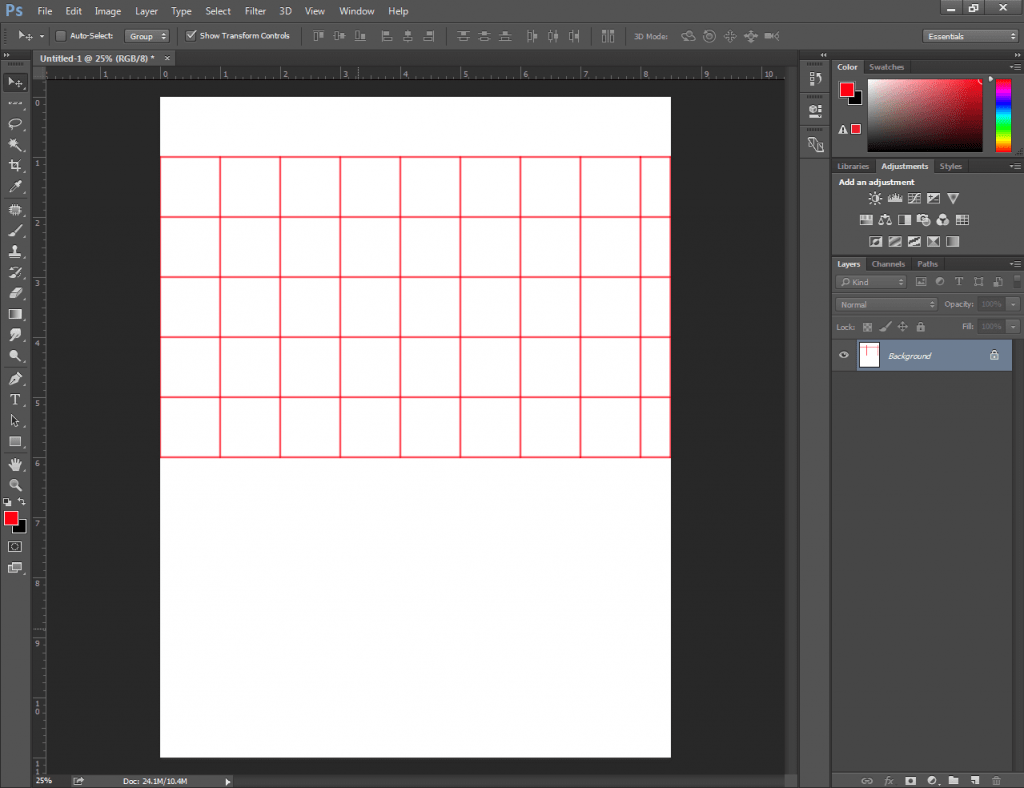 Make a table in Photoshop