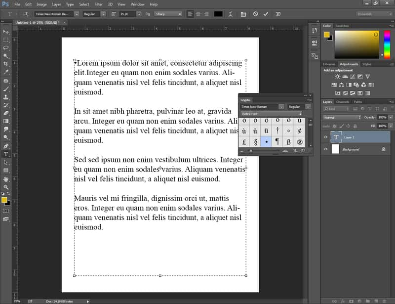 Put bullet points in Photoshop