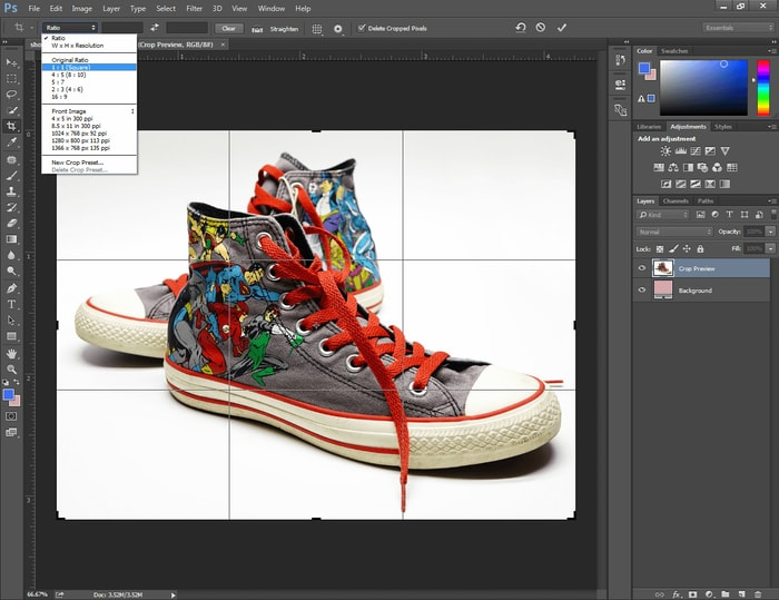 Crop the image in Photoshop