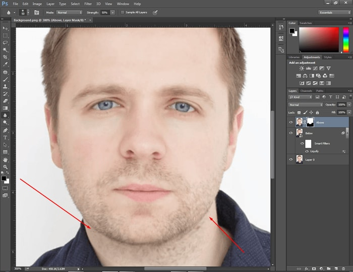 how to get rid of a double chin in photoshop